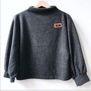 Zaful Gray Besr Artic Cropped Mock Neck Sweater